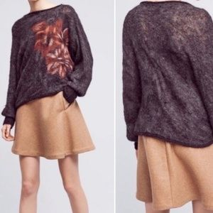Anthropologie Troubadour Felted Floral Sweater